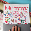 Personalised Big Milestone Card - hearts design - showing 'happy birthday' rather than age
