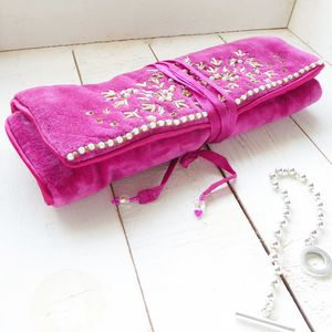 Pink Velvet Jewellery Roll - boxes, trunks & crates