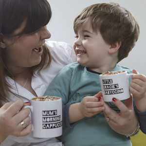 Personalised Cappuccino/Babyccino Mugs - gifts for him