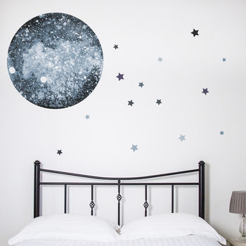Watercolour Moon And Stars Wall Sticker