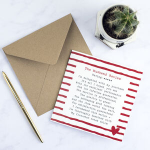Husband Review Poem Card