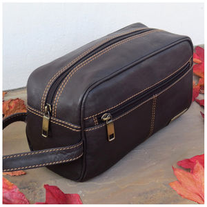 Luxury Chestnut Brown Leather Wash Bag