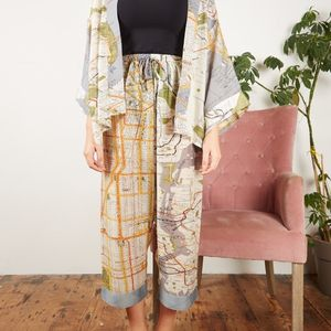 Map Print Palazzo Pants - women's fashion