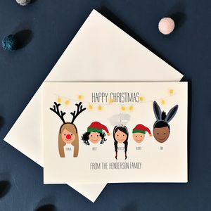 Bespoke Personalised Family Christmas Cards Pack Hats - christmas card packs