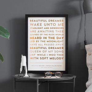 Metallic Song Lyrics Or Poem Print - bespoke prints we love