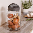 Industrial Glass Storage Jars With Metal Mesh Lid