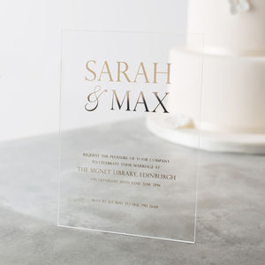 Personalised Acrylic Foiled Wedding Invitations - invitations