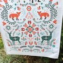 100% Cotton Woodland Tea Towel In A Folk Art Style