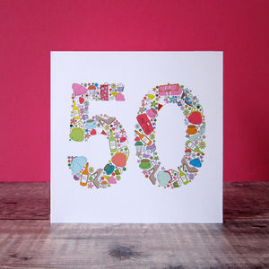 Girlie Things 50th Birthday Card - special age birthday cards