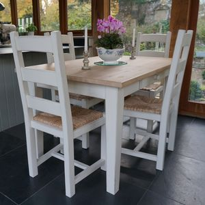 Fonthill Table With Ladder Back Chairs Hand Painted By Rectory Blue Notonthehighstreet
