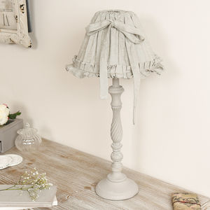 French Grey Table Lamp With Pleated Linen Bow Shade