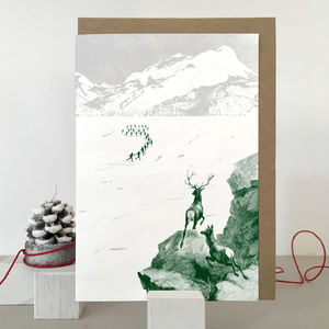 Deer Christmas Card In A Retro Style