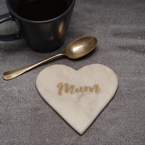 Marble Heart Coasters With Engraving