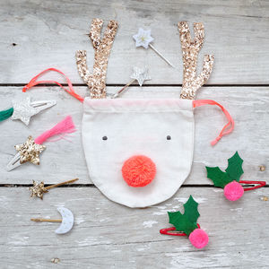 Reindeer Drawstring Pouch With Festive Hair Clips