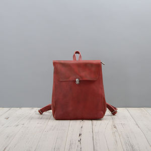 Minimalist Leather Backpack For Ladies - backpacks