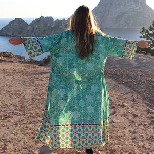 Malachite Mosaic Organic Cotton Long Kimono - bathrobes & dressing gowns