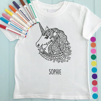 Unicorn Children's T Shirt To Colour In