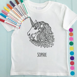 Unicorn Children's T Shirt To Colour In - for children