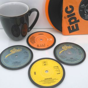 Personalised Vinyl Coasters Abba Set Of Four - tableware