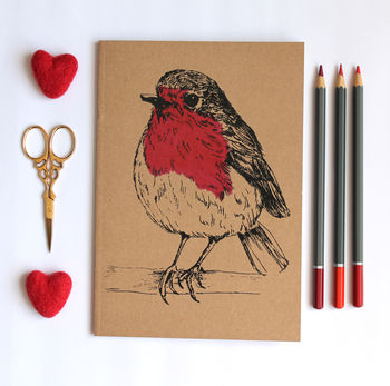 A5 Robin Notebook With Blank Pages