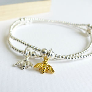 Sterling Silver Tiny Bumble Bee Beaded Bracelet - bracelets & bangles