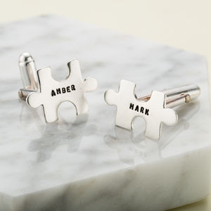 Personalised Jigsaw Cufflinks - cufflinks