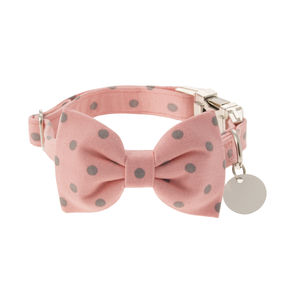 Rose With Grey Spots Bow Tie Dog Collar - clothes & accessories