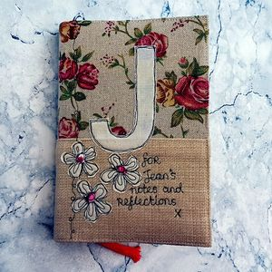 Personalised Notebook,Beige Floral - personalised
