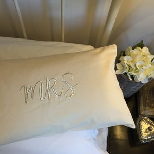 Personalised Embroidered Mr And Mrs Cushion - bedroom
