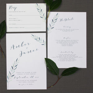 Olive Branch Watercolour Wedding Invitation - wedding stationery