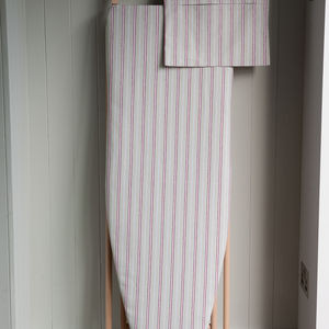 Malvern Grey Red Stripe Ironing Board Cover - ironing