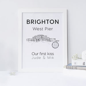 The Brighton Old Pier Illustrated Art Print