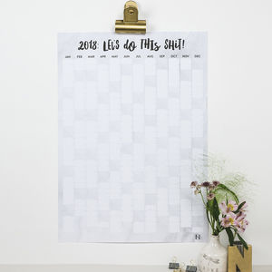 'Let's Do This Shit' 2018 Marble Wall Planner