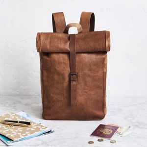 Rolltop Leather Backpack