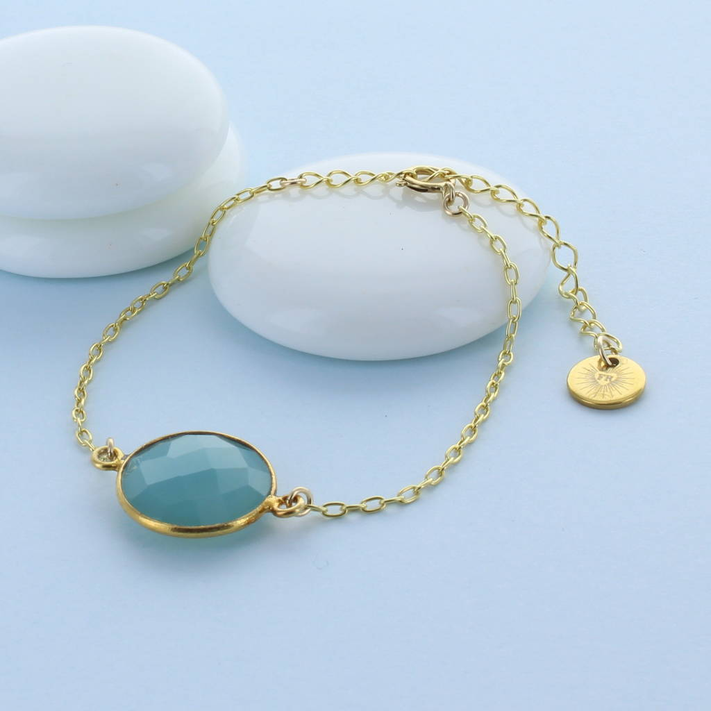 Faceted Gold Chalcedony Charm Bracelet