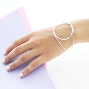 Geometric Sterling Silver Statement Bangle - statement jewellery