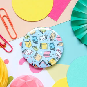 Book Pattern Badge, Pocket Mirror Or Keyring - pins & brooches