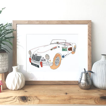 Mga Sports Car Hand Drawn Illustration Print