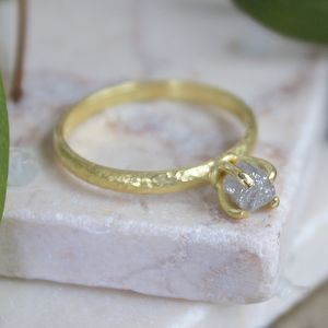 Rough Uncut Raw Grey Diamond Engagement Ring - engagement rings