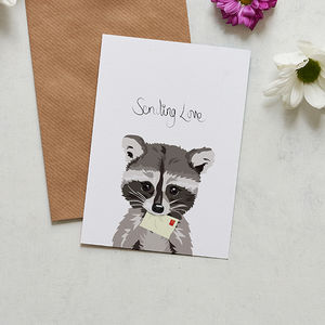 Sending Love Raccoon Card