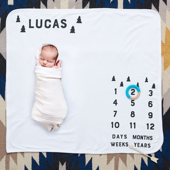 Personalised Scandi Trees Baby Milestone Blanket