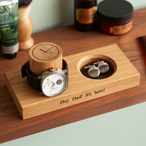 Personalised Cufflinks Tray And Watch Stand - cufflink boxes & coin trays
