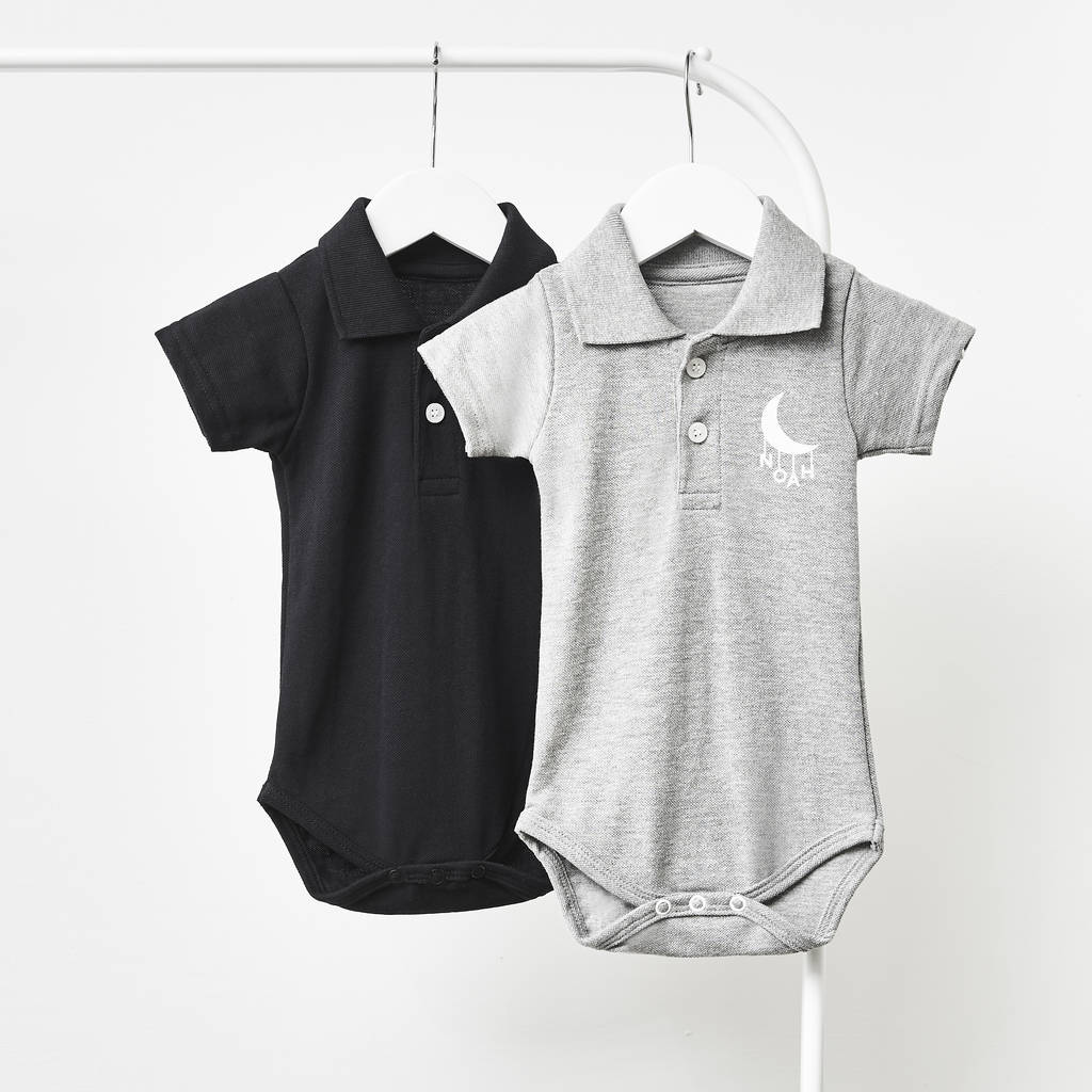 0e548dfb6 little moon personalised polo babygrow by sophia victoria joy ...