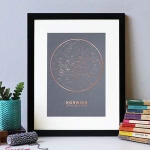 Grey And Copper Foil Personalised Star Map Print - refresh your home