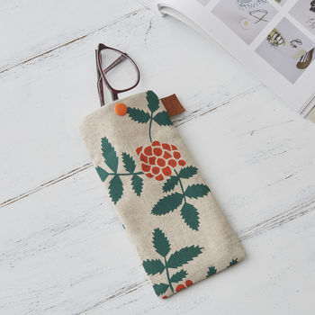 Rowan Berry Glasses Case With Leather Strap