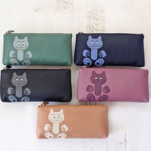 The Cat's Whiskers Leather Make Up Pouch Or Pencil Case