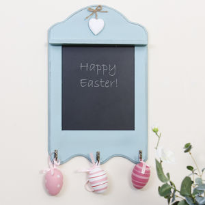Duck Egg Blue Spring Wall Mounted Chalkboard Organiser - shelves