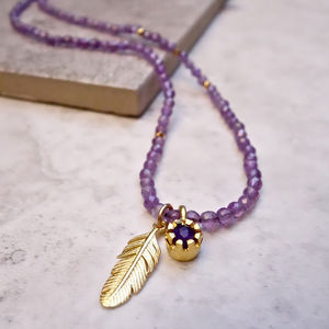 'Have Faith' Amethyst Gemstone Necklace - february birthstone
