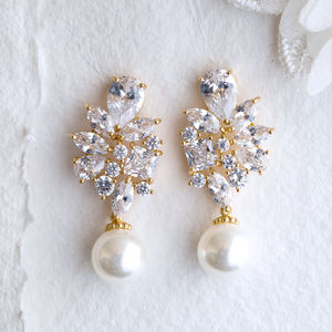 Adela Pearl And Crystal Rose Gold Earrings