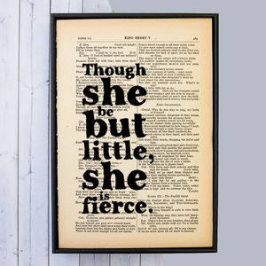 'Little But Fierce' Literary Quote Gift For Her Print - literature